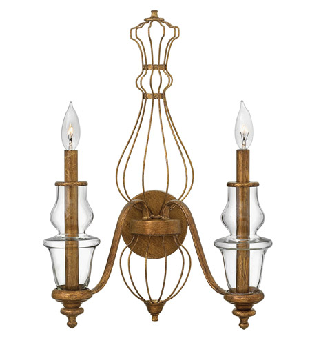 Hinkley 3082GF Celine 2 Light 16 inch Antique Gold Leaf Sconce Wall Light photo