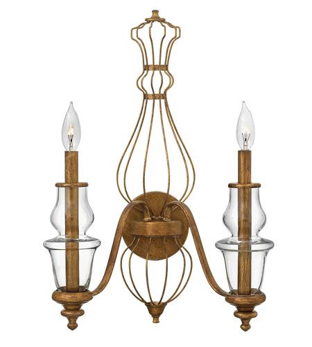 Hinkley Lighting Celine 2 Light Sconce in Antique Gold Leaf 3082GF