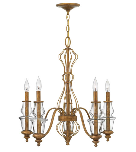Hinkley 3085GF Celine 5 Light 25 inch Antique Gold Leaf Chandelier Ceiling  Light - Hinkley 3085GF Celine 5 Light 25 Inch Antique Gold Leaf Chandelier