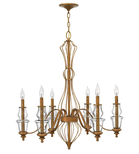 Hinkley Lighting Celine 6 Light Chandelier in Antique Gold Leaf 3086GF photo