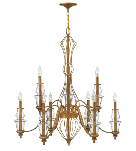 All White With Gold Leaf Ceiling And Degournay Coco: Hinkley Lighting Celine 9 Light Chandelier In Antique Gold
