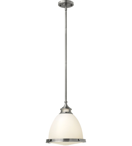 Hinkley 3124PL Amelia 1 Light 13 inch Polished Antique Nickel Mini-Pendant Ceiling Light in Incandescent, Etched Opal Glass  photo