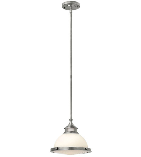 Hinkley 3127PL Amelia 1 Light 12 inch Polished Antique Nickel Mini-Pendant Ceiling Light in Incandescent, Etched Opal Glass photo
