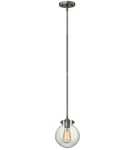 Hinkley 3128AN Congress 1 Light 7 inch Antique Nickel Mini-Pendant Ceiling Light, Retro Glass photo