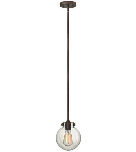 Hinkley 3128OZ Congress 1 Light 7 inch Oil Rubbed Bronze Mini-Pendant Ceiling Light clear glass. photo