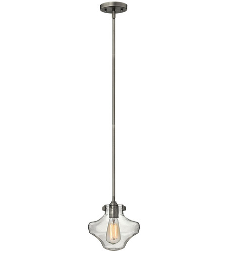 Hinkley 3129AN Congress 1 Light 9 inch Antique Nickel Mini-Pendant Ceiling Light, Retro Glass photo