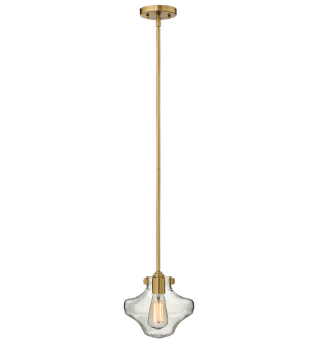 Hinkley 3129BC Congress 1 Light 9 inch Brushed Caramel Mini-Pendant Ceiling Light, Retro Glass photo