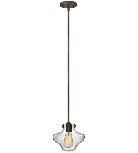 Hinkley 3129OZ Congress 1 Light 9 inch Oil Rubbed Bronze Mini-Pendant Ceiling Light, Retro Glass photo