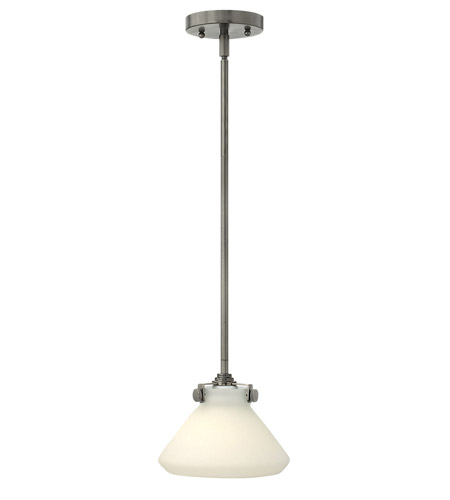Hinkley 3130AN-LED Congress 1 Light 8 inch Antique Nickel Mini-Pendant Ceiling Light in LED, Etched Opal Glass photo