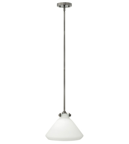 Hinkley 3131AN-GU24 Congress 1 Light 12 inch Antique Nickel Mini-Pendant Ceiling Light in GU24, Etched Opal Glass photo