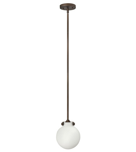 Hinkley 3133OZ-LED Congress 1 Light 7 inch Oil Rubbed Bronze Mini-Pendant Ceiling Light in LED, Etched Opal Glass photo