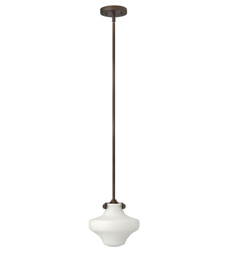 Hinkley 3134OZ-GU24 Congress 1 Light 9 inch Oil Rubbed Bronze Mini-Pendant Ceiling Light in GU24, Etched Opal Glass photo