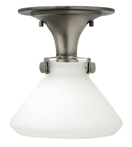 Hinkley 3140AN-LED Congress 1 Light 8 inch Antique Nickel Flush Mount Ceiling Light in LED, Etched Opal Glass photo