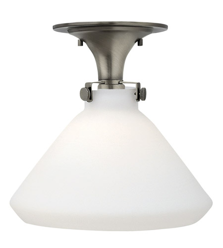 Hinkley 3141AN-GU24 Congress 1 Light 12 inch Antique Nickel Flush Mount Ceiling Light in GU24, Etched Opal Glass photo
