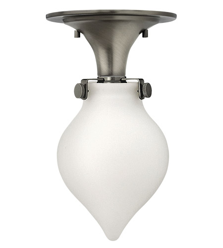 Hinkley 3145AN Congress 1 Light 6 inch Antique Nickel Flush Mount Ceiling Light in Incandescent, Retro Glass photo