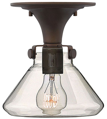 Hinkley 3146OZ Congress 1 Light 8 inch Oil Rubbed Bronze Flush Mount Ceiling Light, Retro Glass photo