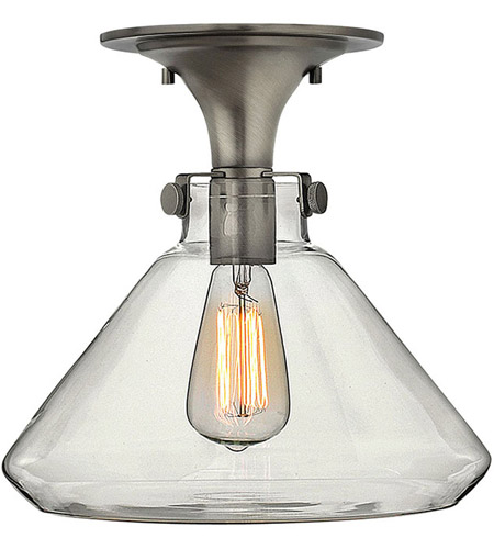 Hinkley 3147AN Congress 1 Light 12 inch Antique Nickel Flush Mount Ceiling Light, Retro Glass photo