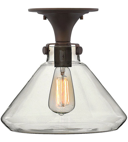Hinkley 3147OZ Congress 1 Light 12 inch Oil Rubbed Bronze Flush Mount Ceiling Light, Retro Glass photo