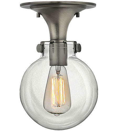 Hinkley 3149AN Congress 1 Light 7 inch Antique Nickel Flush Mount Ceiling Light, Retro Glass photo