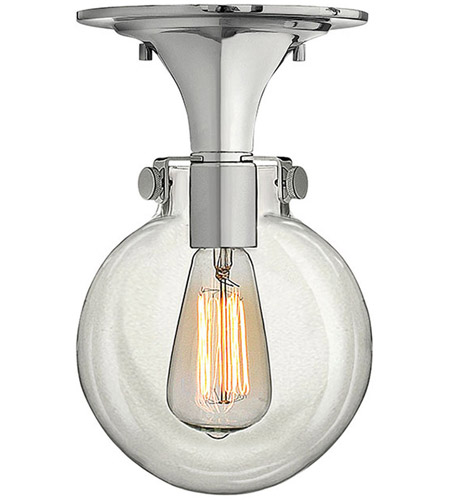 Hinkley 3149CM Congress 1 Light 7 inch Chrome Flush Mount Ceiling Light, Retro Glass photo