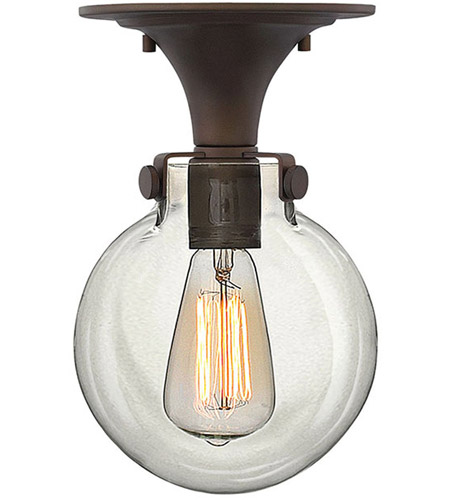 Hinkley 3149OZ Congress 1 Light 7 inch Oil Rubbed Bronze Foyer Flush Mount Ceiling Light, Retro Glass photo
