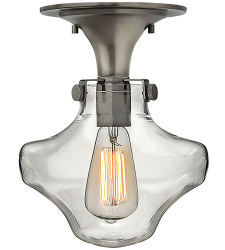Hinkley 3150AN Congress 1 Light 9 inch Antique Nickel Flush Mount Ceiling Light, Retro Glass photo