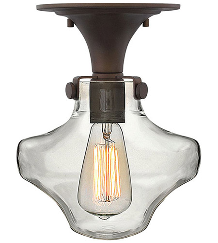 Hinkley 3150OZ Congress 1 Light 9 inch Oil Rubbed Bronze Flush Mount Ceiling Light, Retro Glass photo