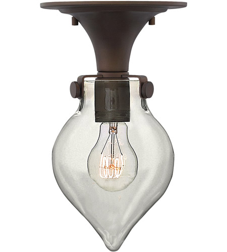 Hinkley 3151OZ Congress 1 Light 6 inch Oil Rubbed Bronze Flush Mount Ceiling Light, Retro Glass photo