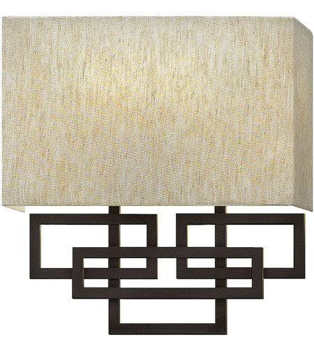 Hinkley 3162OZ Lanza 2 Light 10 inch Oil Rubbed Bronze ADA Sconce Wall Light, Oatmeal Linen Shade photo