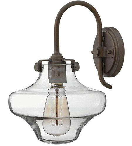 Hinkley 3171OZ Congress 1 Light 9 inch Oil Rubbed Bronze Sconce Wall Light, Retro Glass photo