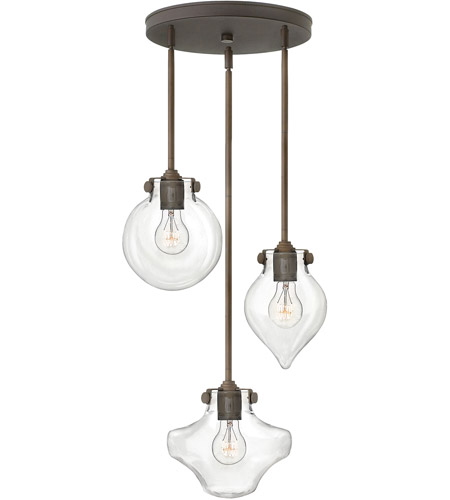 Hinkley 3198OZ Congress 3 Light 20 inch Oil Rubbed Bronze Pendant Ceiling Light, Clear Glass photo