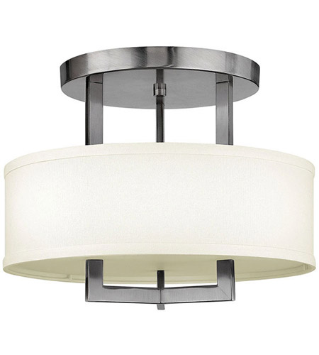 Hinkley 3200AN Hampton 3 Light 15 inch Antique Nickel Foyer Semi-Flush Mount Ceiling Light in Soft Linen Hardback Shade, Incandescent photo