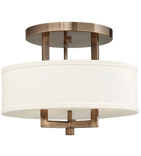 Hinkley 3200BR Hampton 3 Light 15 inch Brushed Bronze Semi Flush Ceiling Light in Soft Linen Hardback Shade, Incandescent photo