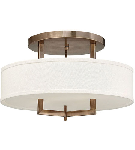 Hinkley 3201BR Hampton 3 Light 20 inch Brushed Bronze Semi Flush Ceiling Light in Soft Linen Hardback Shade, Incandescent photo