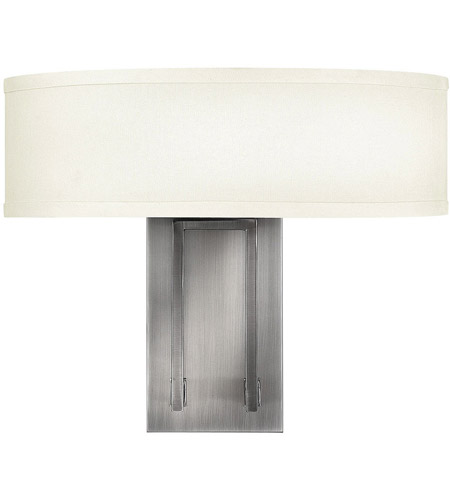 Hinkley 3202AN Hampton 2 Light 15 inch Antique Nickel Sconce Wall Light in Soft Linen Hardback Shade photo