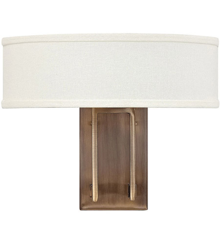 Hinkley 3202BR Hampton 2 Light 15 inch Brushed Bronze Sconce Wall Light in Soft Linen Hardback Shade photo
