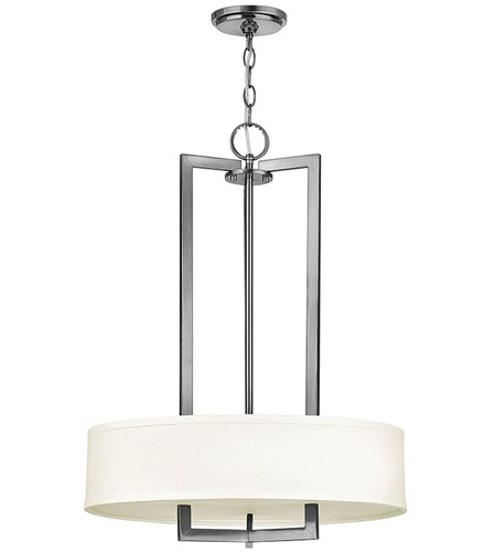 Hinkley 3203AN Hampton 3 Light 20 inch Antique Nickel Inverted Pendant Ceiling Light in Soft Linen Hardback Shade, Incandescent photo