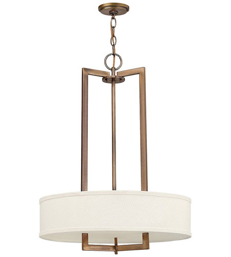 Hinkley 3203BR Hampton 3 Light 20 inch Brushed Bronze Chandelier Ceiling Light in Soft Linen Hardback Shade, Incandescent photo