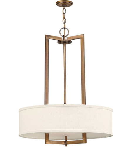Hinkley 3204BR Hampton 3 Light 26 inch Brushed Bronze Inverted Pendant Ceiling Light in Soft Linen Hardback Shade, Incandescent photo
