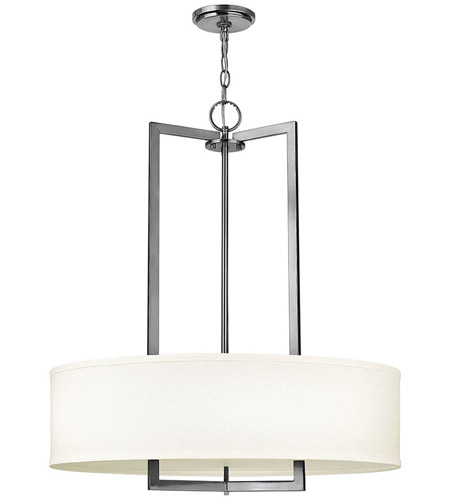 Hinkley 3204AN-LED Hampton LED 26 inch Antique Nickel Chandelier Ceiling Light in Soft Linen Hardback Shade photo