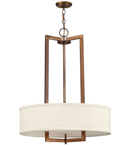 Hinkley 3204BR-LED Hampton LED 26 inch Brushed Bronze Chandelier Ceiling Light in Soft Linen Hardback Shade photo