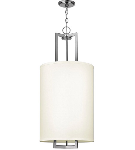 Hinkley 3205AN Hampton 3 Light 16 inch Antique Nickel Hanging Foyer Ceiling Light in Soft Linen Hardback Shade photo