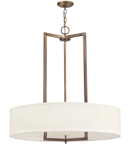 Hinkley 3206br Hampton 3 Light 30 Inch Brushed Bronze Inverted Pendant Ceiling In Incandescent Photo