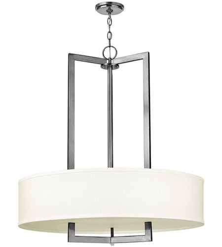 Hinkley 3206AN-LED Hampton LED 30 inch Antique Nickel Foyer Ceiling Light in Soft Linen Hardback Shade photo