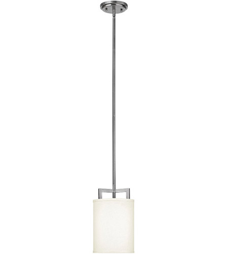Hinkley 3207AN Hampton 1 Light 7 inch Antique Nickel Mini-Pendant Ceiling Light in Soft Linen Hardback Shade, Incandescent photo