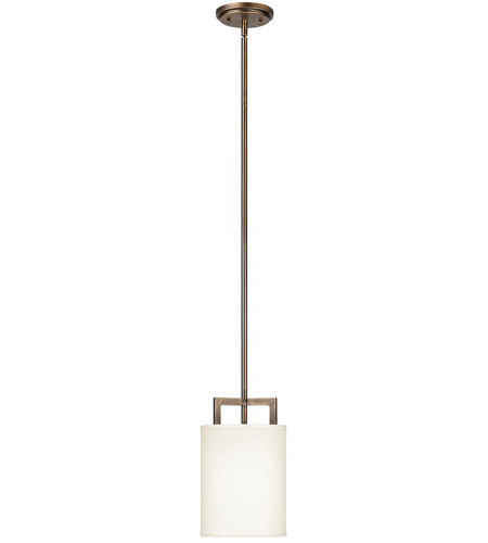 Hinkley 3207BR Hampton 1 Light 7 inch Brushed Bronze Mini-Pendant Ceiling Light in Soft Linen Hardback Shade, Incandescent photo