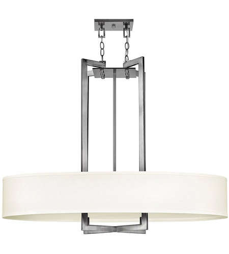Hinkley 3208AN Hampton 4 Light 40 inch Antique Nickel Inverted Pendant Ceiling Light in Soft Linen Hardback Shade photo