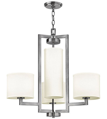 Hinkley 3209AN Hampton 4 Light 25 inch Antique Nickel Chandelier Ceiling Light in Soft Linen Hardback Shade photo