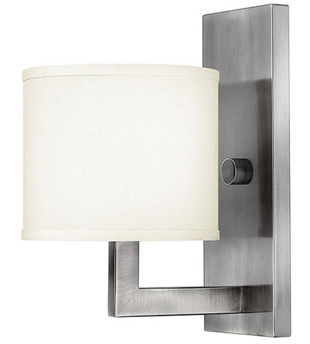 Hinkley 3210AN Hampton 1 Light 7 inch Antique Nickel Sconce Wall Light in Soft Linen Hardback Shade photo