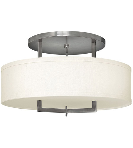 Hinkley 3211AN Hampton 3 Light 26 inch Antique Nickel Foyer Semi-Flush Mount Ceiling Light in Soft Linen Hardback Shade, Incandescent photo